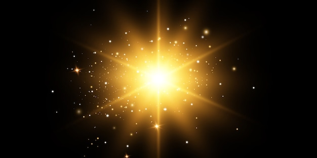 Brillantes estrellas doradas, sol sobre un fondo negro. efectos, deslumbramiento, líneas, brillo, explosión, luz dorada. ilustración