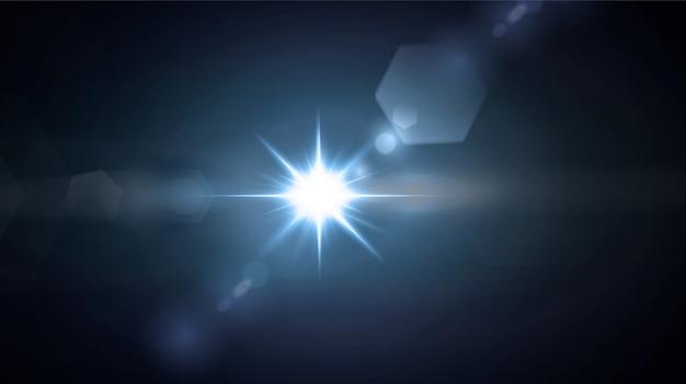 Brillantes estrellas de neón aisladas sobre fondo negro. efectos, destello de lente, brillo, explosión, luz de neón, conjunto. estrellas brillantes, hermosos rayos azules.