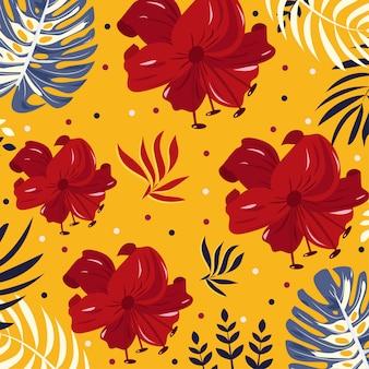 Brillantes flores tropicales y hojas sobre fondo amarillo