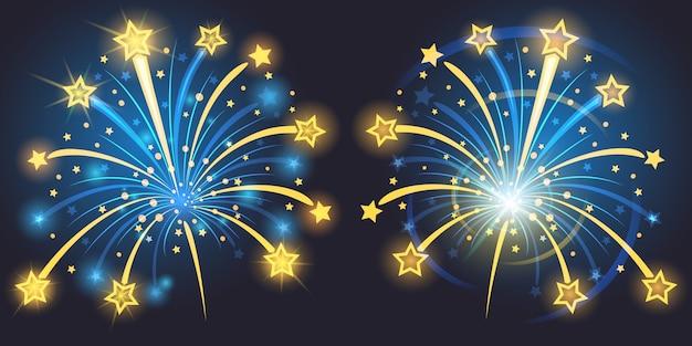 Brillantes fuegos artificiales con estrellas y chispas