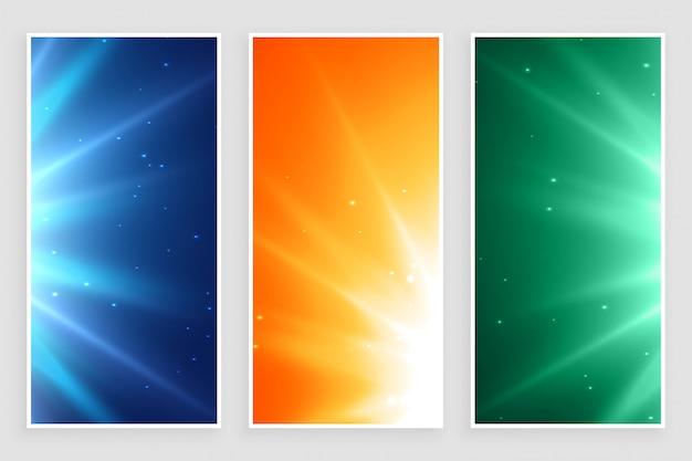 Brillantes rayos de luz vacíos estallan conjunto de banners
