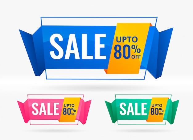 Brillantes venta y descuento banners conjunto