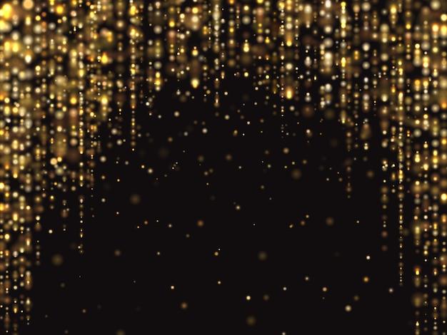 El brillo abstracto del oro enciende el fondo con polvo de la chispa que cae. textura rica de lujo