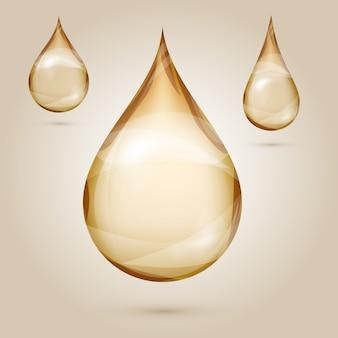 Brillo amarillo aceite gotas ilustración aislada
