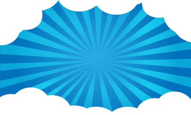 Brillo de dibujos animados de fondo azul con marco de nubes.