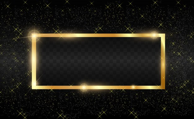 Brillo dorado con marco dorado brillante sobre un fondo negro transparente.