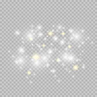 Brillo de estrellas blancas y doradas.