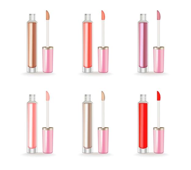 Brillo de labios conjunto vector realista. paquete 3d cosmética de belleza producto de envase