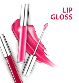 Brillo de labios de tubo rosa y rojo con pincel aislado