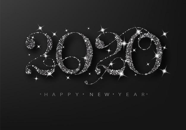 Brillo negro 2020 sobre un fondo negro. feliz año nuevo tarjeta de rejilla.