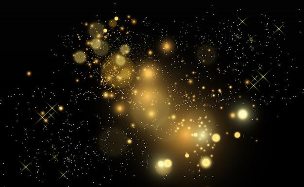 Brillo de polvo de oro brillante. adornos brillantes brillantes para el fondo. .