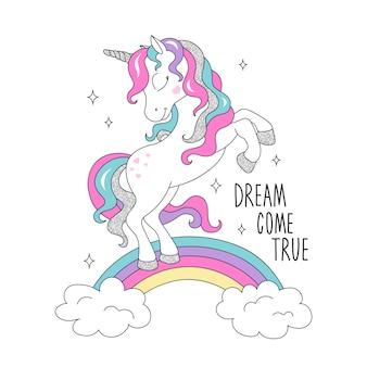 Brillo unicornio en un arco iris.