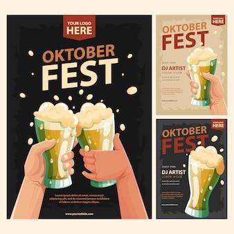 Un brindis por un vaso de cerveza para el oktoberfest