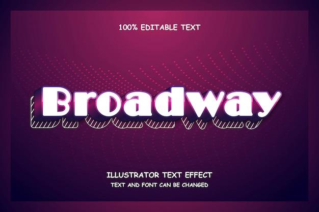 Broadway, efecto de texto editable sombra moderna estilo futurista