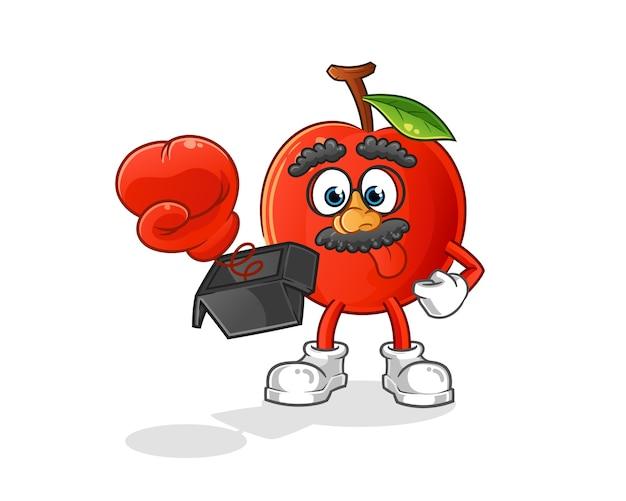 Broma de cereza con guante en dibujos animados de caja. mascota de dibujos animados