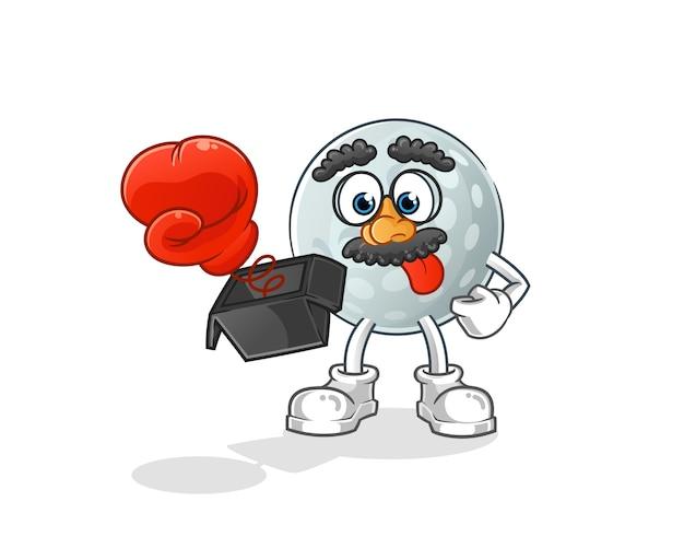 Broma de pelota de golf con guante en dibujos animados de caja. mascota de dibujos animados