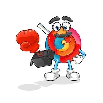 Broma de piruleta con guante en la ilustración de dibujos animados de caja