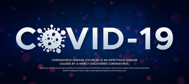 Brote de la enfermedad por coronavirus (2019-ncov), pancarta sobre la enfermedad infecciosa. encabezado covid -19 y silueta de virus sobre fondo azul. epidemia global amenaza el concepto de salud de las personas.