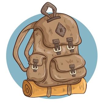 Brown que acampa mochila con estera y sketchy o doodle estilo