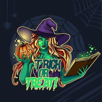 Bruja y calabaza de halloween truco o trato!