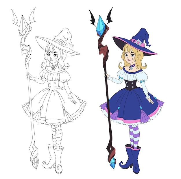 Bruja de dibujos animados hermosa con bastón grande. cabello rubio, vestido azul y sombrero grande.
