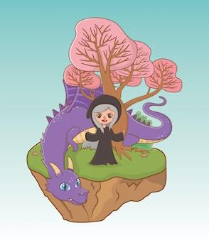 Bruja y dragón de diseño de cuento de hadas.