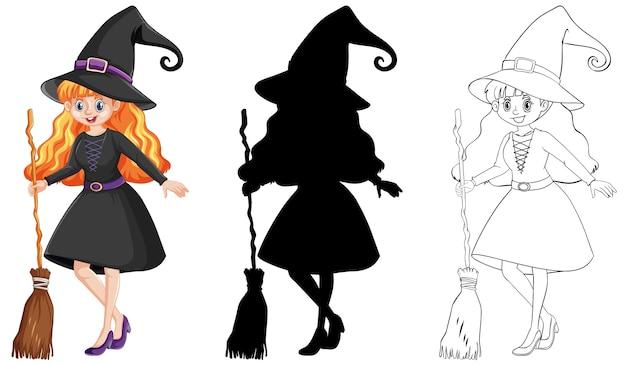 Bruja con escoba en color y contorno y silueta personaje de dibujos animados aislado sobre fondo blanco.