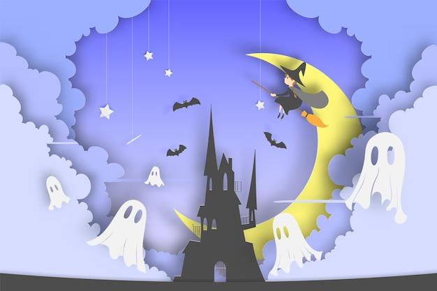 Bruja en el estilo de arte de papel de escoba con calabaza sonrisa y el castillo para la fiesta de halloween