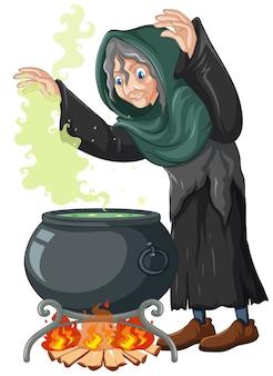 Bruja con estilo de dibujos animados de olla de magia negra aislado en blanco