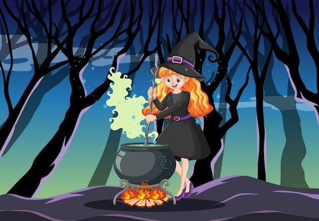 Bruja con estilo de dibujos animados de olla de magia negra sobre fondo de bosque oscuro