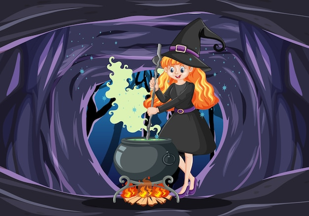 Bruja con estilo de dibujos animados de olla de magia negra sobre fondo de cueva oscura