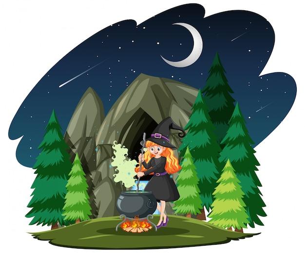 Bruja con estilo de dibujos animados de olla mágica negra sobre fondo de bosque oscuro