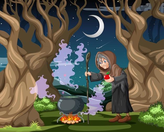 Bruja con estilo de dibujos animados de olla mágica negra sobre fondo oscuro de la selva