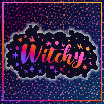 Bruja estrellas de patrón de halloween