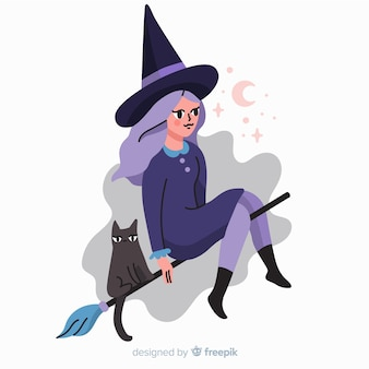 Bruja y gato personajes de dibujos animados de halloween