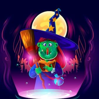 Bruja de halloween de dibujos animados realista