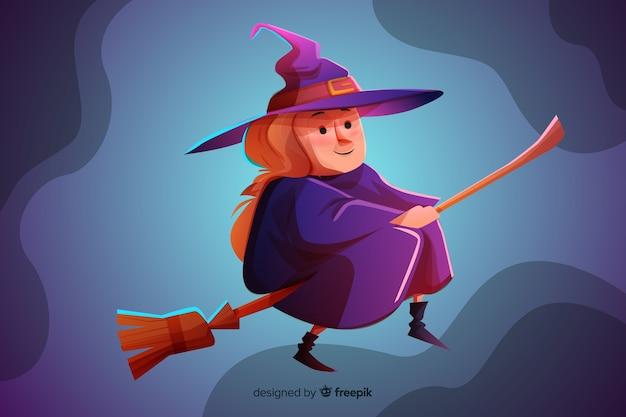 Bruja de halloween de dibujos animados realistas