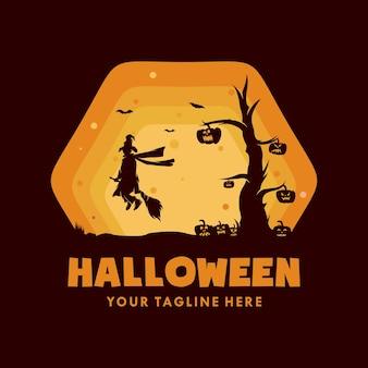 Bruja de halloween con logo de calabaza