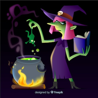 Bruja de halloween realista de dibujos animados