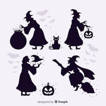Bruja de halloween silueta