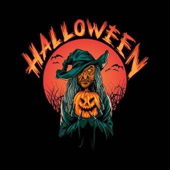 Bruja hallowen ilustración