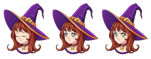Bruja kawaii de halloween con ocho expresiones faciales diferentes