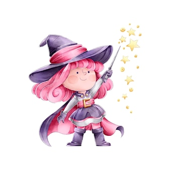 Bruja lanzando un hechizo feliz halloween