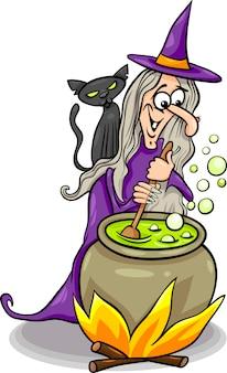 Bruja lanzando una ilustración de dibujos animados de hechizo