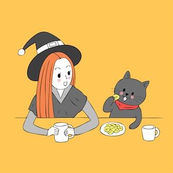 La bruja linda de la historieta y el gato negro disfrutan comiendo vector.