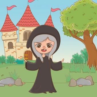 Bruja medieval de dibujos animados de cuento de hadas.