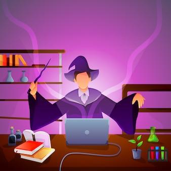 La bruja moderna hace algún experimento su laptop.