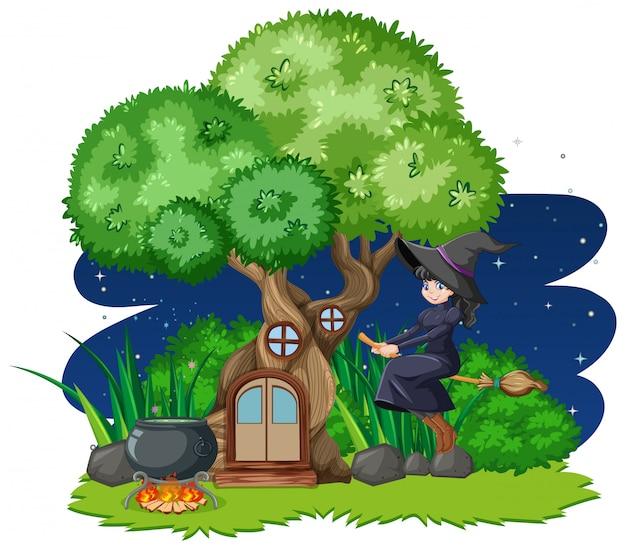 Bruja montando escoba junto a la casa del árbol de estilo de dibujos animados sobre fondo blanco.