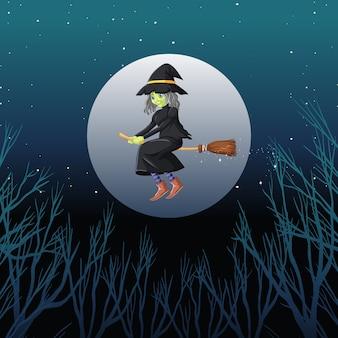 Bruja o mago montando escoba el cielo aislado en el cielo