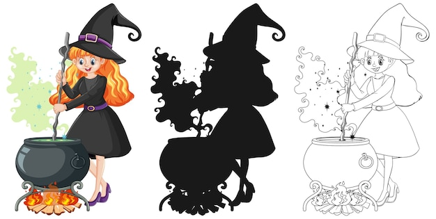 Bruja con olla mágica en color y contorno y personaje de dibujos animados de silueta aislado sobre fondo blanco.